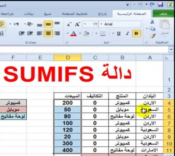 دالة الجمع التلقائي في برنامج جداول البيانات الحسابية هي